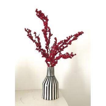 Striped vase, black