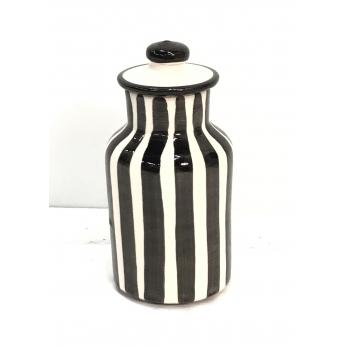 """Petit pot """"rayures verticales"""" noires"""