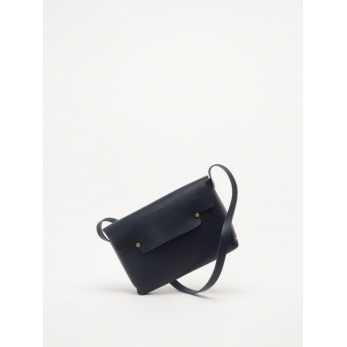 The shoulder strap rectangle bag, blue leather