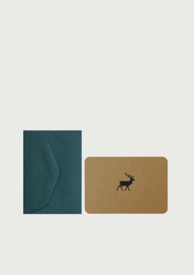 Mini carte postale + enveloppe Renne
