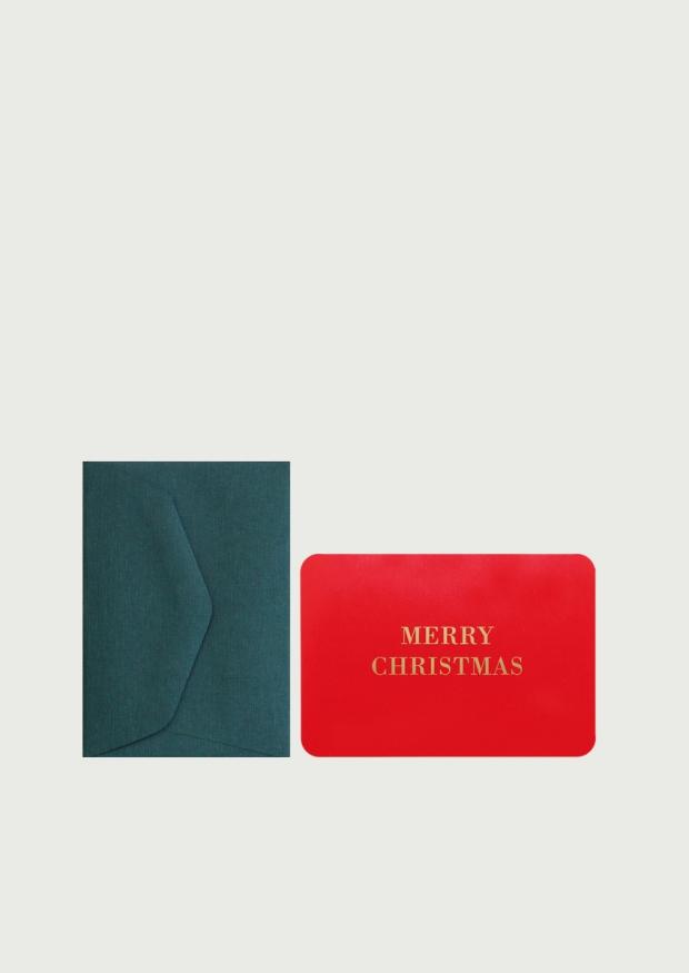 Mini carte postale + enveloppe Merry Christmas