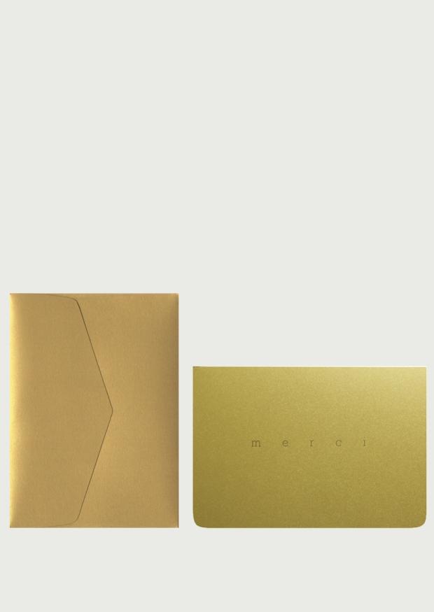 Carte postale + enveloppe Merci doré