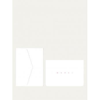 Carte postale + enveloppe Merci blanc