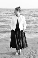 Short jacket, white denim