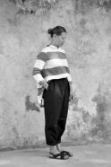 Bow trousers, black denim