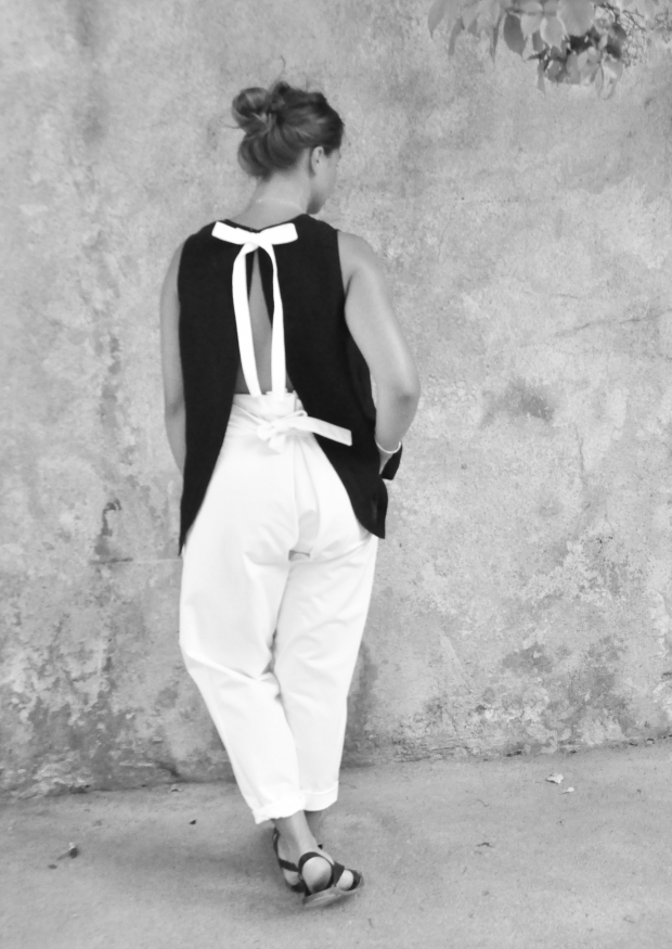 Bow trousers, white denim