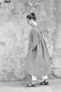 Long sleeves pleated shirt-dress, grey linen