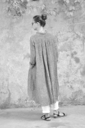 Long sleeves pleated shirt-dress, grey linen