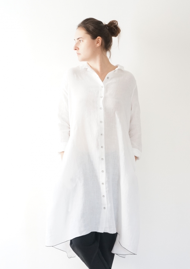 Long sleeves pleated shirt-dress