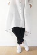 Long sleeves pleated shirt-dress, white linen