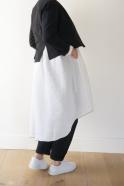 Robe-chemise à plis manches longues, lin blanc