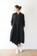 Long sleeves pleated shirt-dress, black linen
