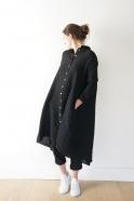 Robe-chemise à plis manches longues, lin noir