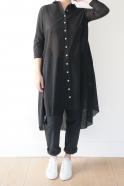 Long sleeves pleated shirt-dress, black openwork cotton