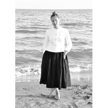 Bow skirt, black linen