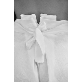 Pantalon noué, lin blanc