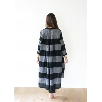 Long sleeves pleated shirt-dress, black stripes linen