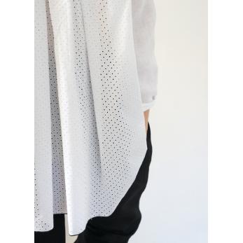 Chemise à plis manches longues, coton ajouré blanc