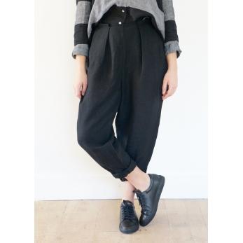 Pantalon noué, lin noir