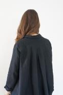 Long sleeves pleated shirt, black linen