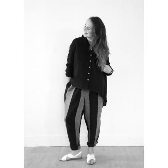 Pantalon noué, lin rayures noires