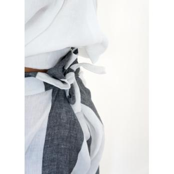 Pantalon noué, lin rayures blanches