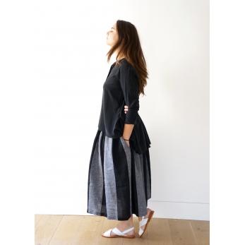 Chemise à plis manches longues, soie noire
