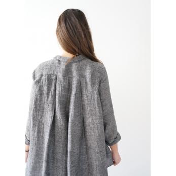 Chemise à plis manches longues, lin gris