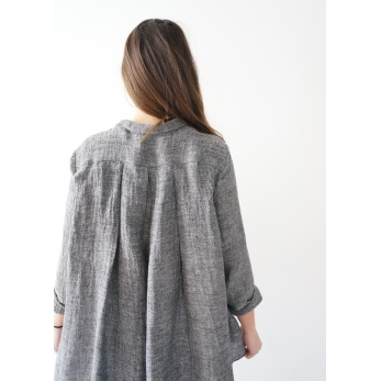 Long sleeves pleated shirt, grey linen
