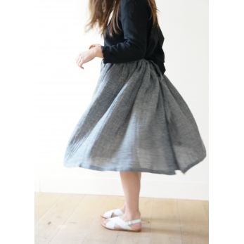 Bow skirt, grey linen