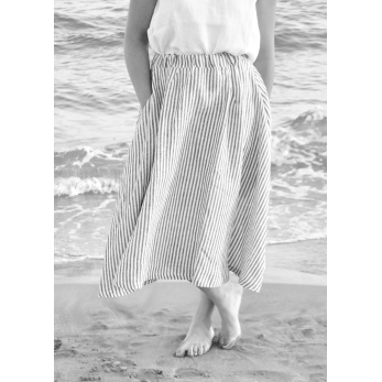 Long skirt, light stripes linen