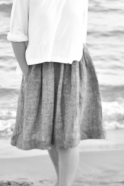Flared sweater, white cotton knit