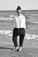 Short cardigan, white cotton knit
