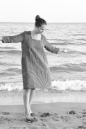 Flared dress, 3/4 sleeves, squared neck, dark stripes linen