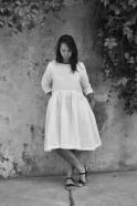 Robe à plis manches 3/4, lin blanc
