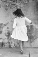 Pleated dress,  3/4 sleeves, white linen