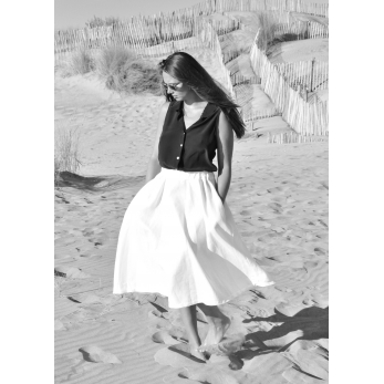Long skirt, white linen