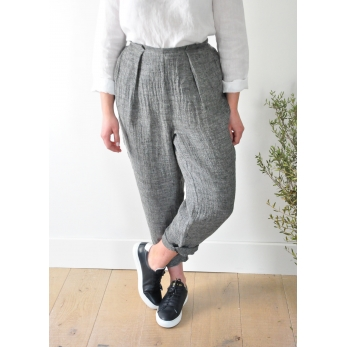 Bow trousers, grey linen