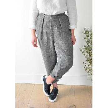 Pantalon noué, lin gris