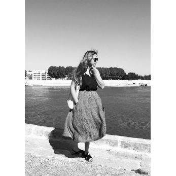Long skirt, grey linen