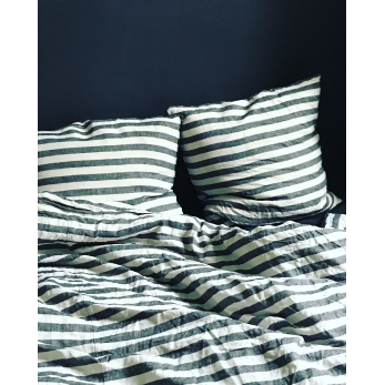 Duvet cover, large stripes linen