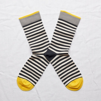 Striped socks, navy and white