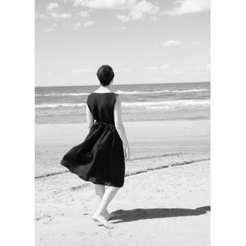 Robe porte-feuille, lin noir