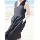 Wrap dress, black linen