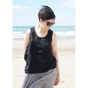 Sleeveless blouse U neck, black linen