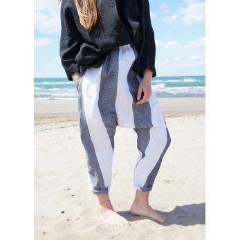 Pantalon sarouel, lin rayures blanches
