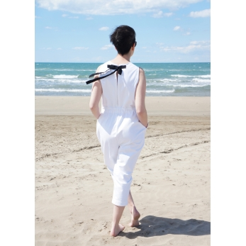 Bow jumpsuit, white denim