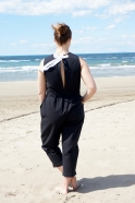 Bow jumpsuit, black denim