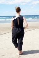 Bow jumpsuit, black denim