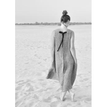 Robe longue nouée simple, lin gris